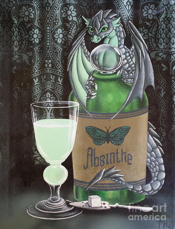 Dragon Painting - Absinthe Dragon by Mary Hoy