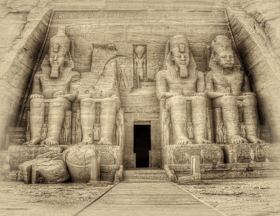 Abu Photograph - Abu Simbel Antiqued by Nigel Fletcher-Jones