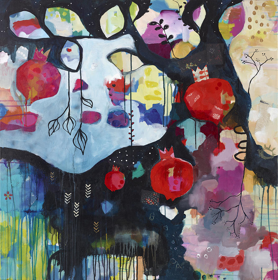 Pommegranate Painting - Abundance by Susie Lubell
