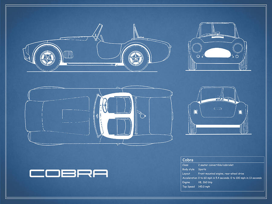 Ac Cobra Photograph - Ac Cobra Blueprint by Mark Rogan