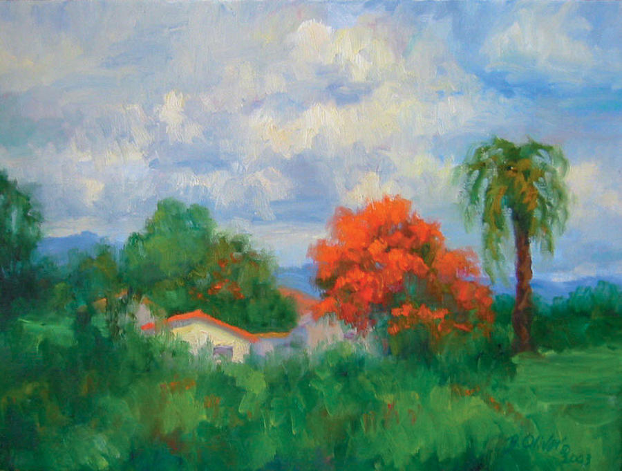 Honduras Painting - Acacias And Red Roofs by Bunny Oliver