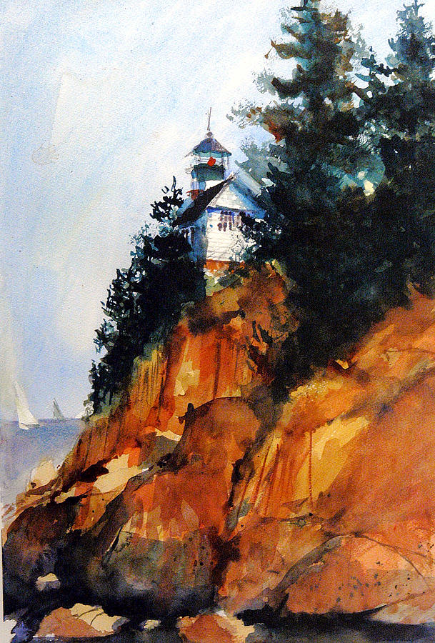 Lighthouse Painting - Acadian Lighthouse by Charles Rowland