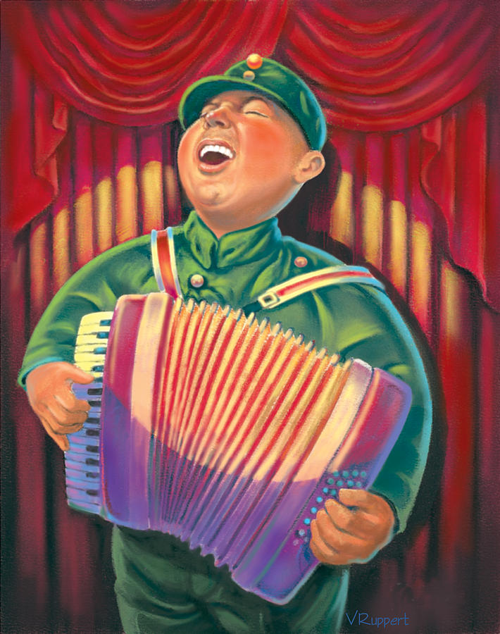Caricature Pastel - Accordian Player by Valer Ian