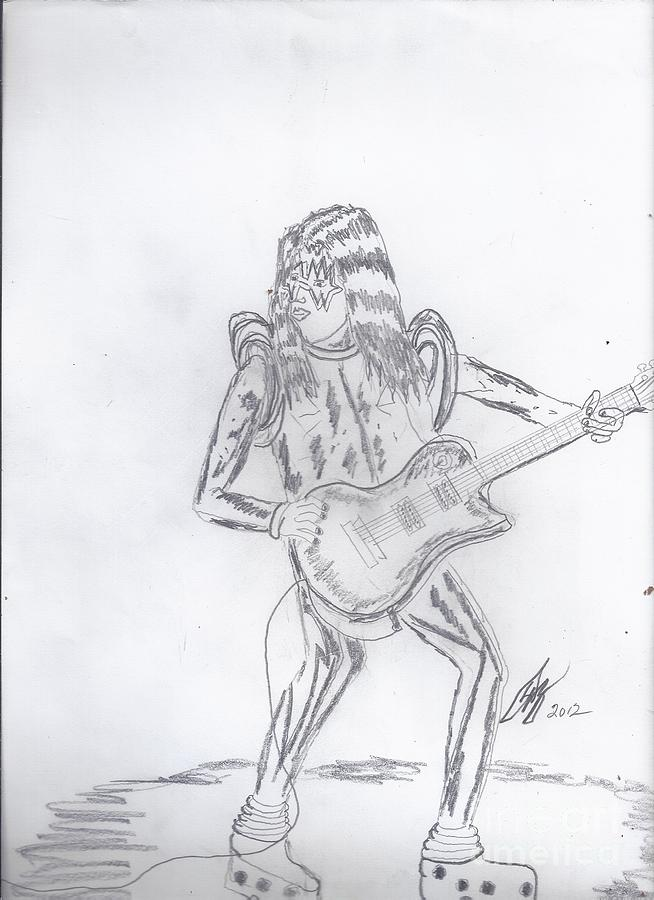 Ace Frehley Drawing - Ace Frehley by David G Boggs