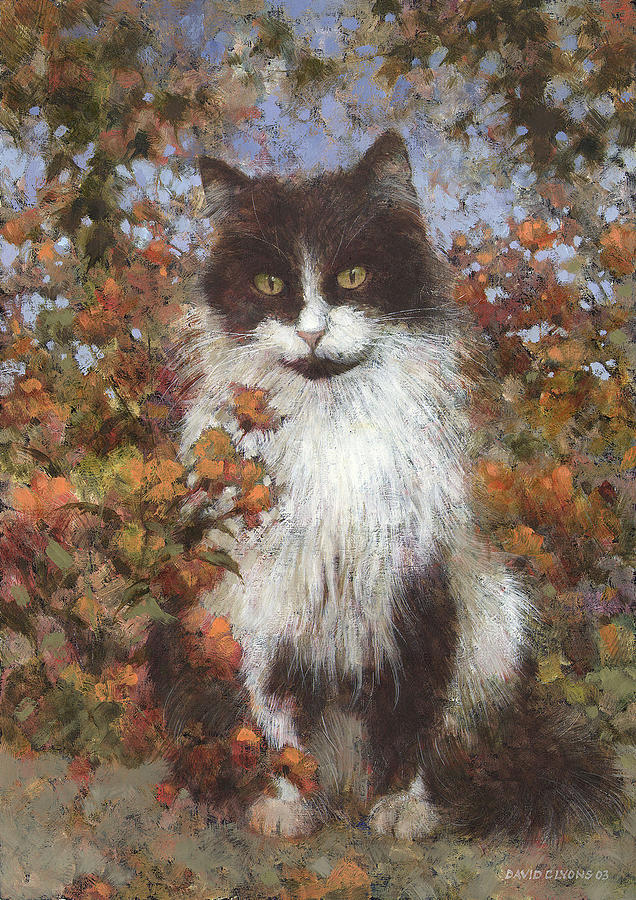 Cat Painting - Ace In The Flowers by David Lyons