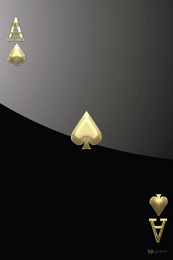 Playing Cards Digital Art - Ace Of Spades In Gold On Black   by Serge Averbukh