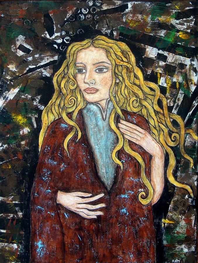 Blonde Hair Painting Painting - Achele by Rain Ririn