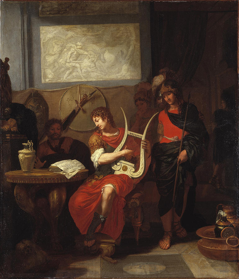 Achilles Playing The Lyre Before Patroclus Painting by ...