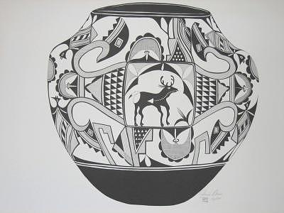 Limited Edition Drawing - Acoma Pot by Joanie Arvin