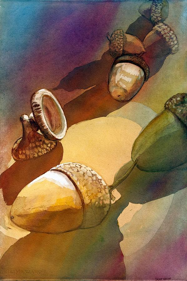Acorns Painting - Acorns by Starr Weems