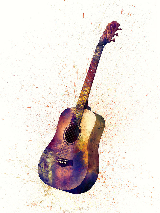 acoustic guitar abstract watercolor digital art by michael tompsett. Black Bedroom Furniture Sets. Home Design Ideas