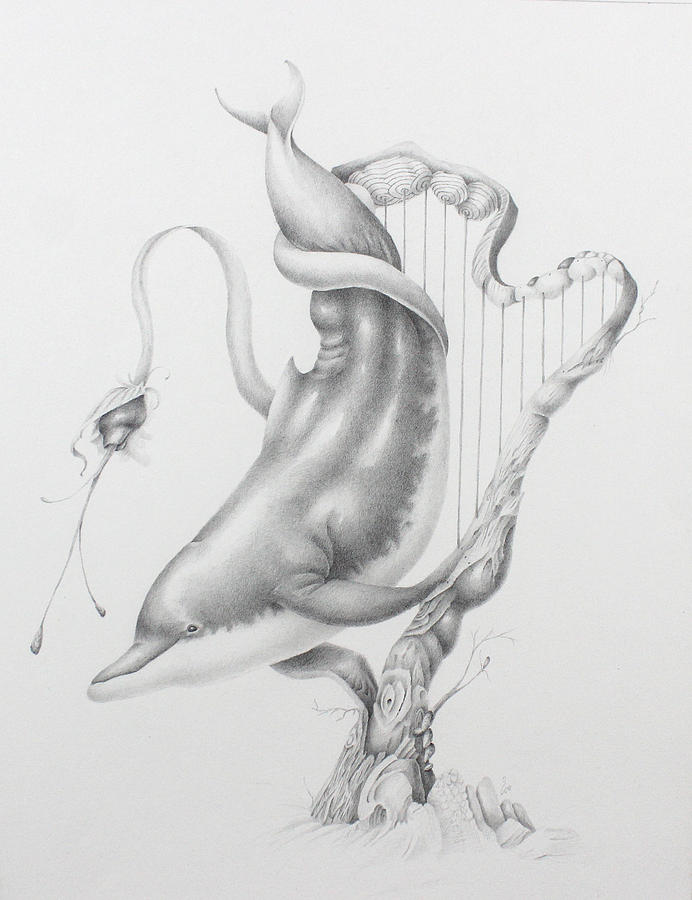 Pencil Drawing - Acoustic Ocean, Harp and Dolphin by Kay Walker