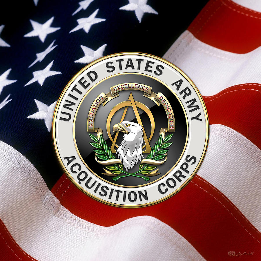 Military Digital Art - Acquisition Corps - A A C Branch Insignia Over U. S. Flag by Serge Averbukh