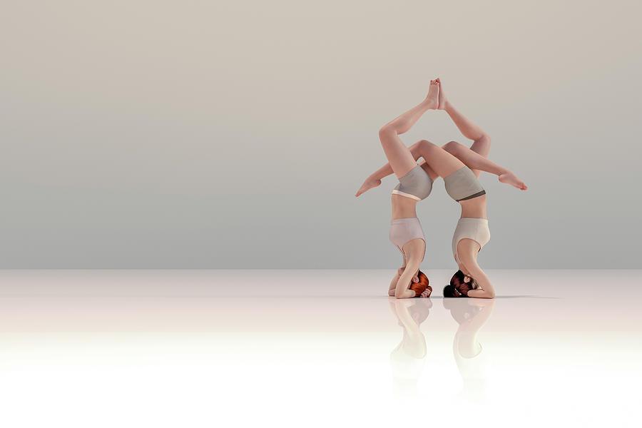 Gymnastics Digital Art - Acro Yoga One by Betsy Knapp