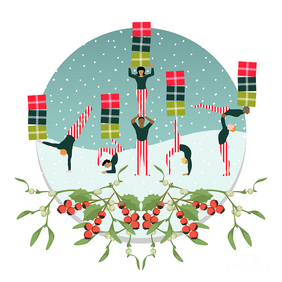 Christmas Digital Art - Acrobatic Parcel Delivery by Claire Huntley