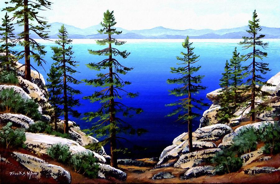 Lake Tahoe Painting - Across Lake Tahoe by Frank Wilson