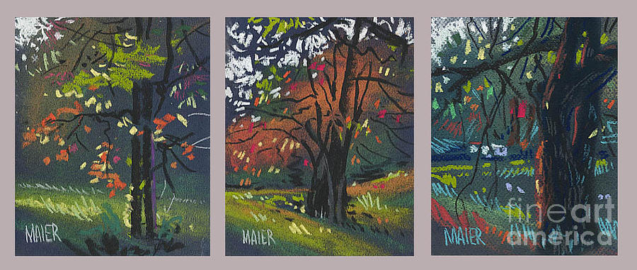 Autumn Foliage Painting - Across The Creek Triplet by Donald Maier