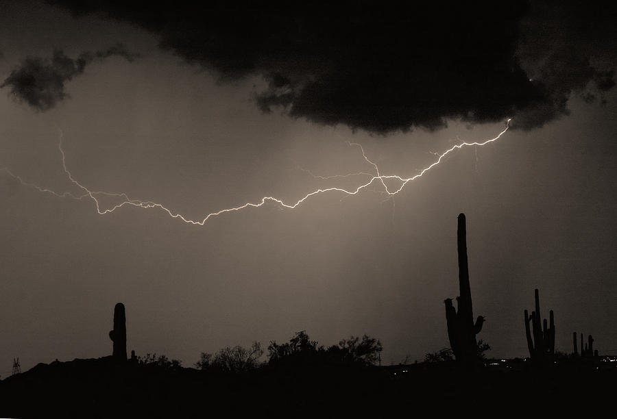 Lightning Photograph - Across The Desert - Sepia Print by James BO  Insogna