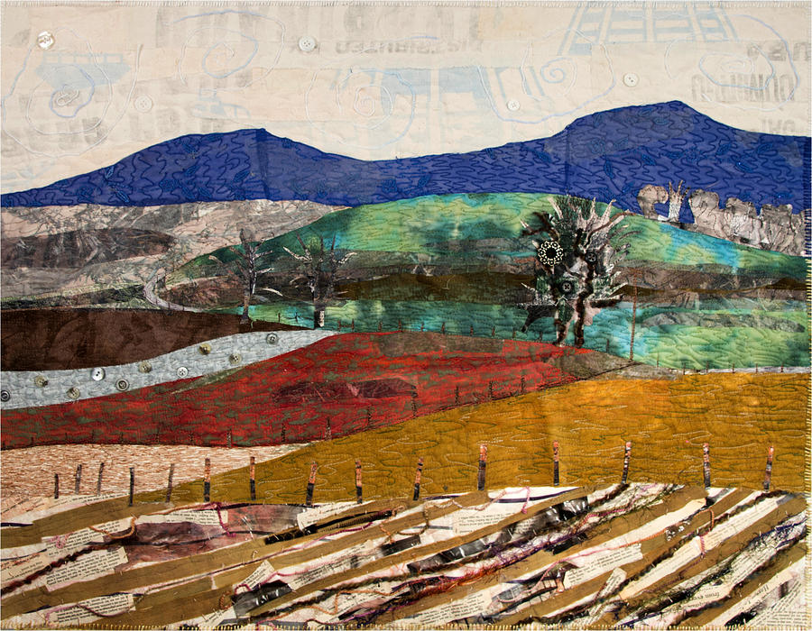 Art Quilt Tapestry - Textile - Across The Meadow by Martha Ressler