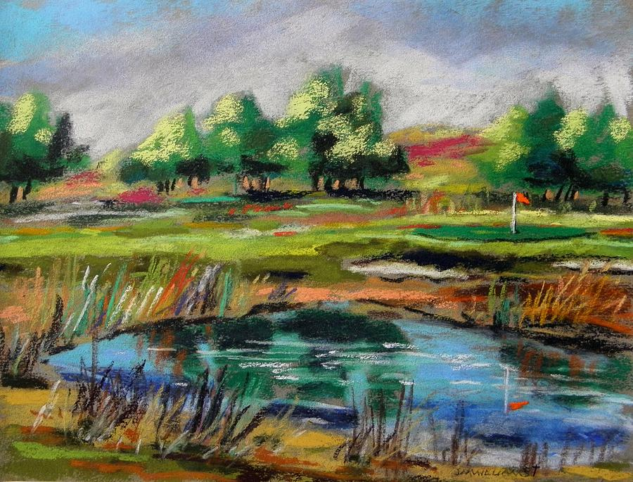 Golf Painting - Across The Water Hazard by John Williams
