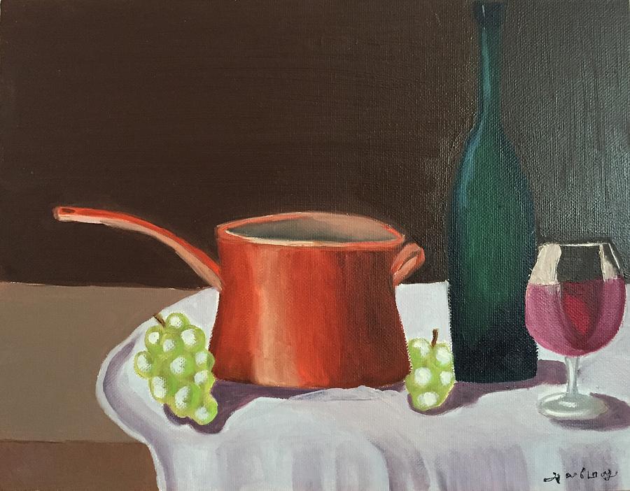Wine Painting - Act before you react by Ramya Sundararajan