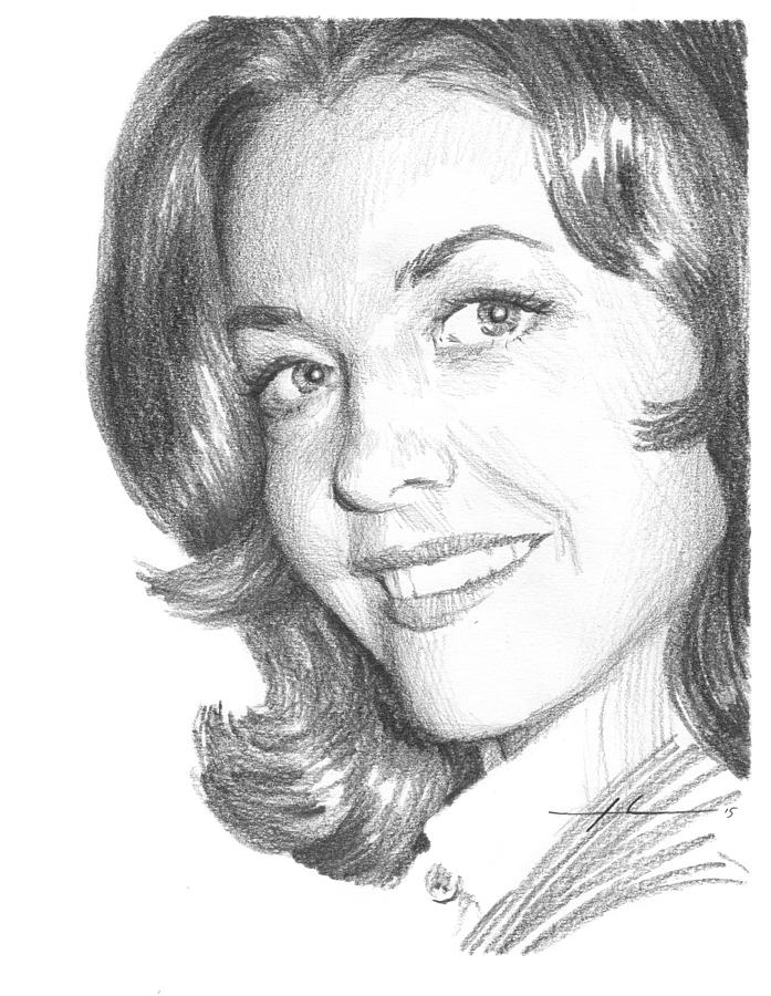 Actress Myrna Fahey Closeup Pencil Portrait Painting by Mike Theuer