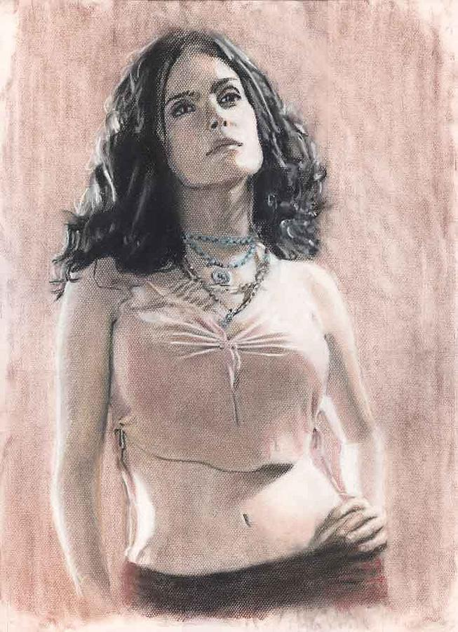 Actress Salma Hayek Painting by Michael  Carpenter