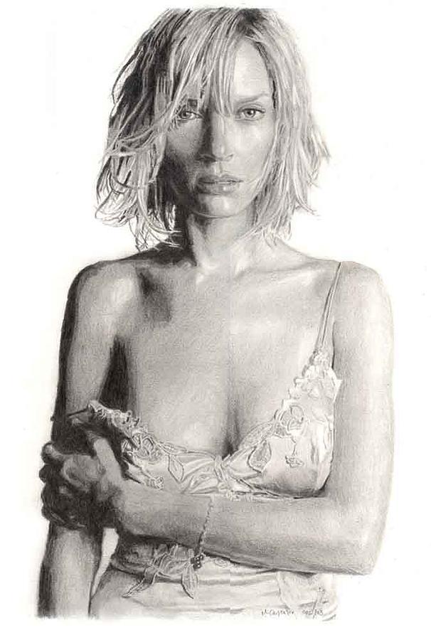 Actress Uma Thurman Drawing by Michael  Carpenter