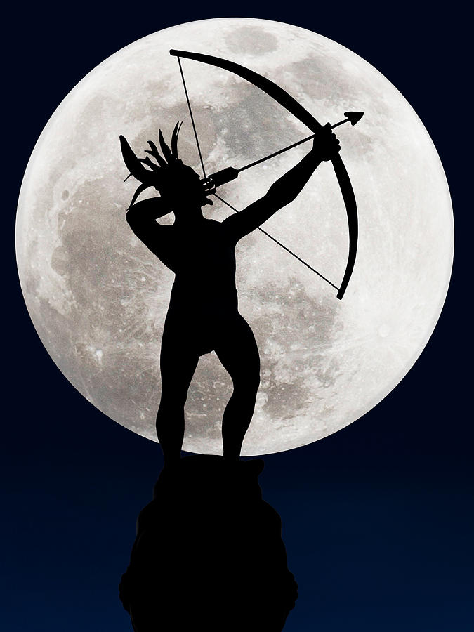Ad Astra Statue And Super Moon Photograph