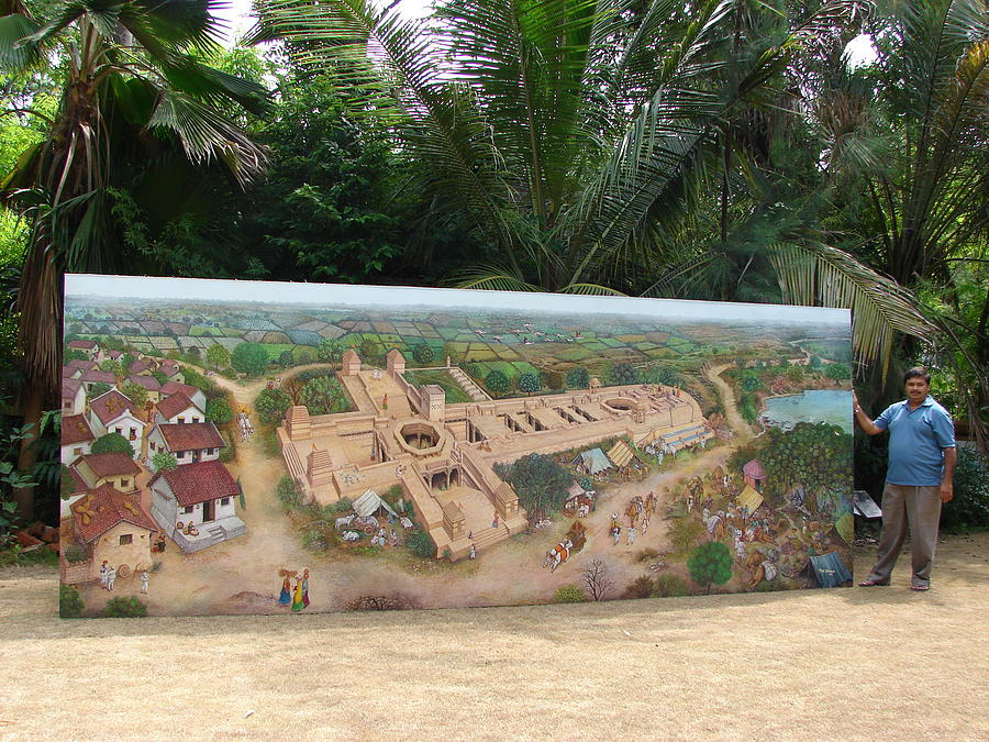 Landscape Painting - Adalaj Step Well- Ahmedabad by Vijay Shrimali