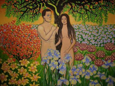Adam & Eve Painting - Adam And Eve by Lana Cheng