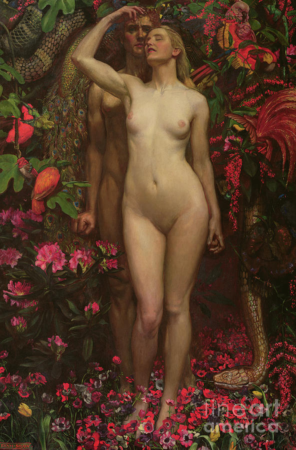Nude Painting - Adam And Eve With The Snake by John Byam Liston Shaw