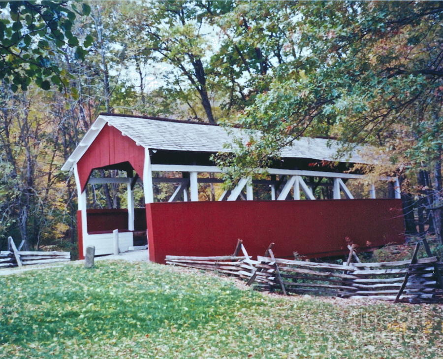 Red Covered Bridge Photograph - Adam Millers Bridge by Penny Neimiller