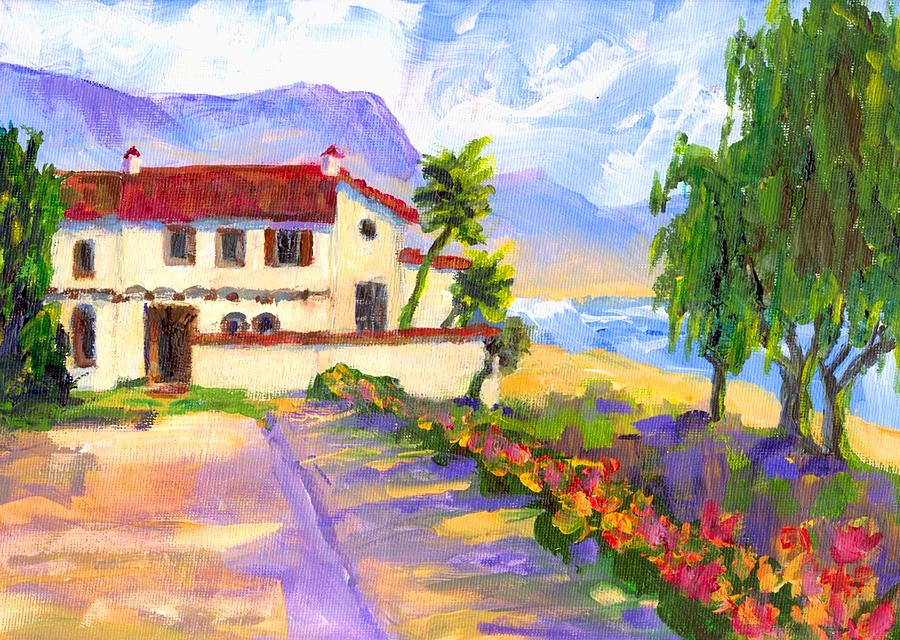 Spanish Painting - Adamson Home Malibu by Randy Sprout
