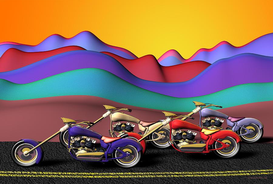 Motorcycles Digital Art - Adelante by Cecilia Sherry