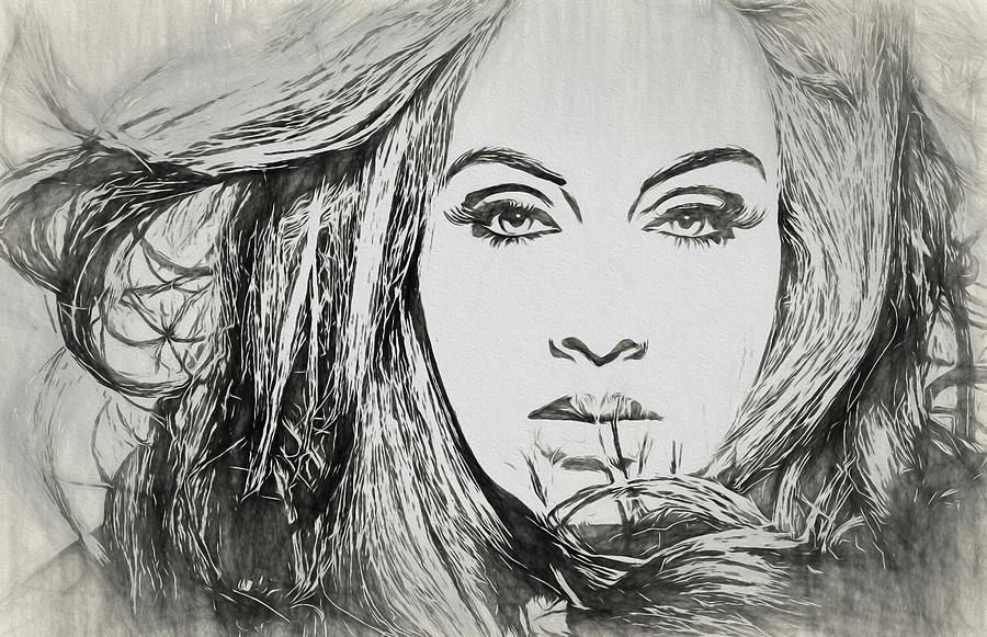Adele Charcoal Sketch Drawing