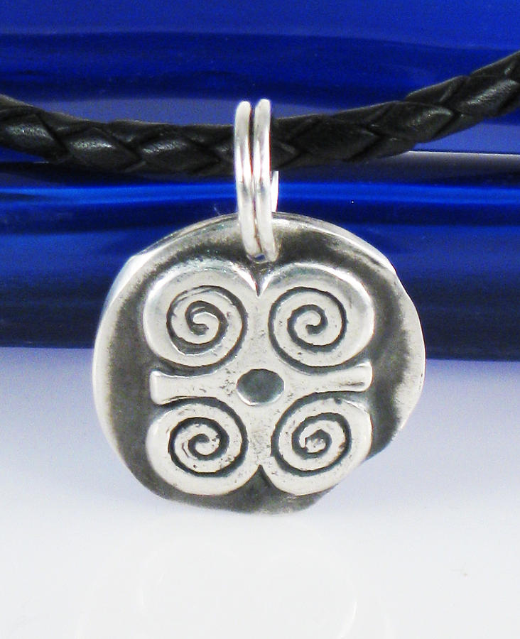 Adinkra Fine Silver Pendant Rams Horns Symbol Of Humility And