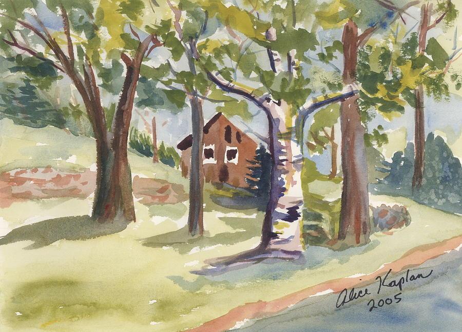 Landscape Painting - Adirondack Cabin by Alice Kaplan