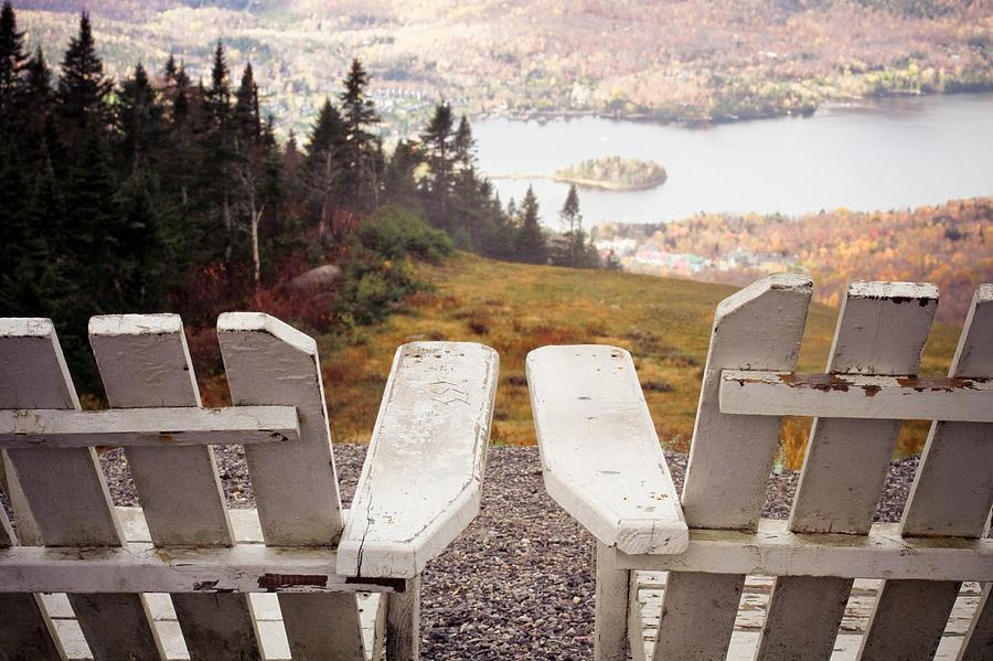 Horizontal Photograph - Adirondack Chair On Mountain Top by Angela Auclair