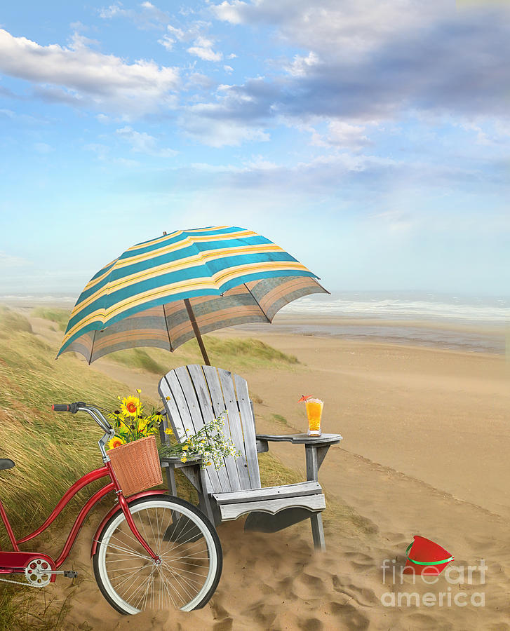 Adirondack Chair Photograph - Adirondack Chair With Bicycle And Umbrella By The Seaside by Sandra Cunningham