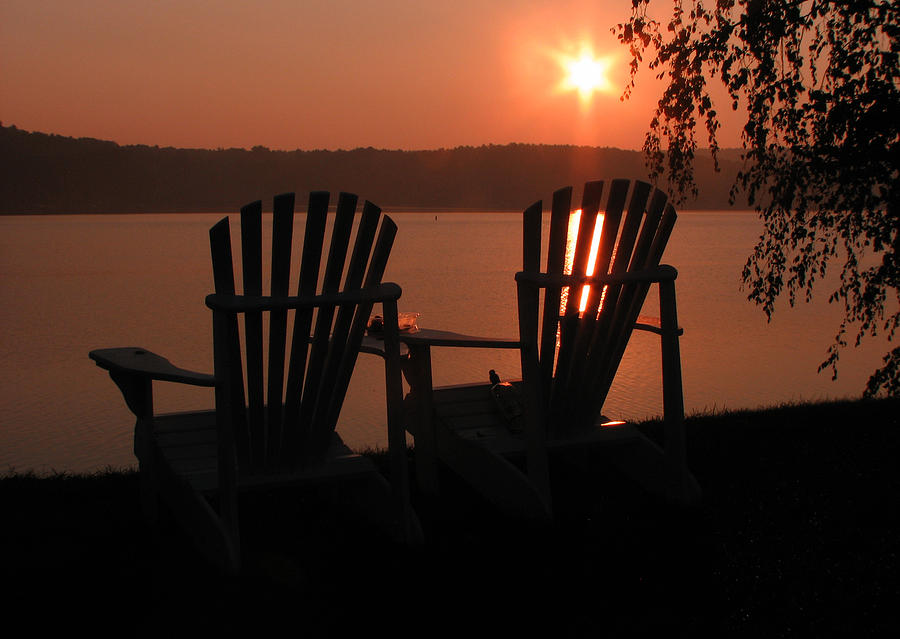 Photography Print Photograph - Adirondack Chairs-1 by Michael Mooney