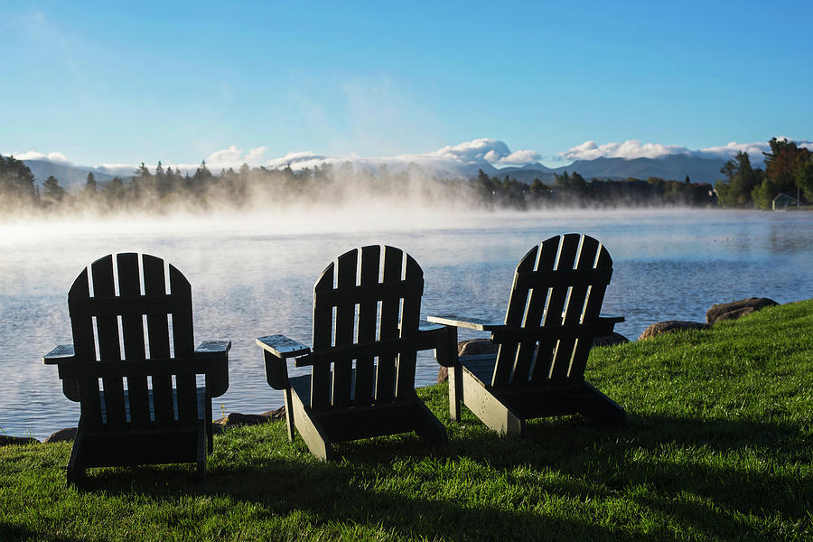 Adirondack Chairs Overlooking Mirror Lake In Lake Placid