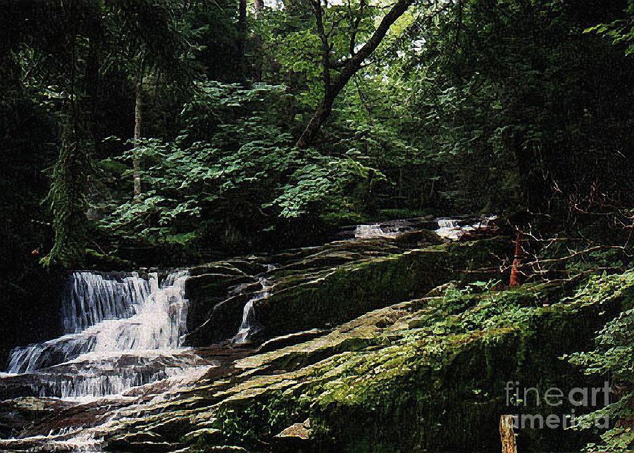 Landscape Digital Art - Adirondack Falls by Alan Del Vecchio
