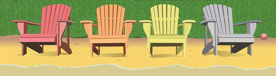 Summer Painting - Adirondacks On The Beach by Marian Federspiel