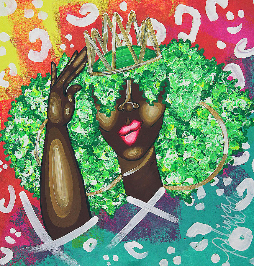 Nubian Painting - Adjusting My Mfkn Crown by Aliya Michelle