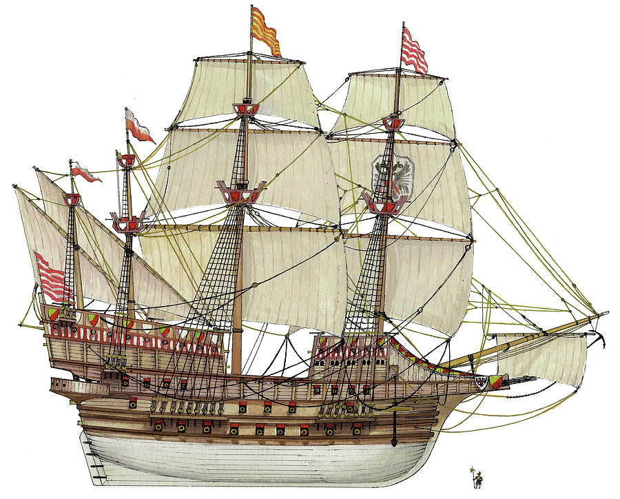 Galleon Drawing - Adler Von Lubeck by The Collectioner