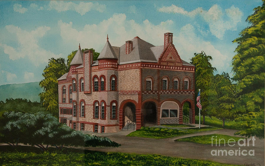 Flag Painting - Administration Building by Charlotte Blanchard