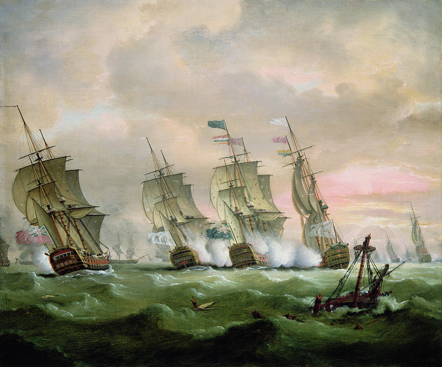Admiral Painting - Admiral Sir Edward Hawke Defeating Admiral De Conflans In The Bay Of Biscay by Thomas Luny