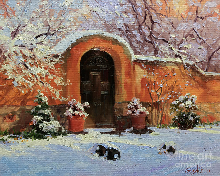 Adobe Wall Painting - Adobe wall with wooden door in snow. by Gary Kim