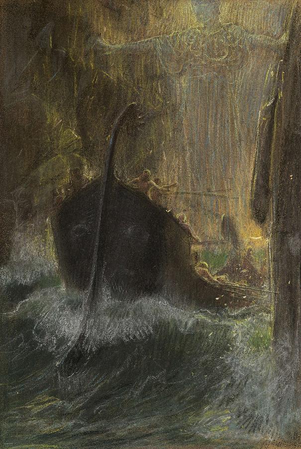 Adolf Hiremy-Hirschl, 1860 - 1933, Between Scylla and Charybdis Painting by Artistic Panda